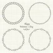 Set of circle cute frames for the St. Valentines Day — Stock Vector