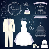 Wedding dresse and groom suit with different accsessories and attributes — Stock Vector