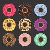 Collection of various glazed donuts — Stock Vector