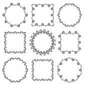 Kolekce ručně kreslenou okrasných rámečků — Stock vektor