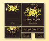 Wedding set of various cards — Stock Vector