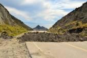Political Road Block of rock and debris in Bolivia — Stock Photo