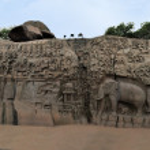 Ancient basreliefs in Mamallapuram, Tamil Nadu, India — Stock Photo #66210731