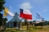 Historic wooden church, built by Jesuit, Chiloe, Chile — Stock Photo