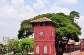 Dutch Clock Tower and Christ Church in Malacca, Malaysia — Stock Photo