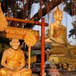Buddha image and holy man sitting under Bodhi tree — Stock Photo #68159699