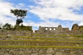 Close-up van gedetailleerde weergave van Machu Picchu, verloren Inca stad in de Andes, Peru — Stockfoto
