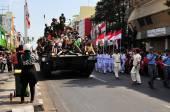 Leopard Tanks full of civilians, Yogyakarta city festival parade — Stock Photo