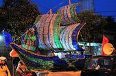 Ship made from recycled bottles, Yogyakarta city festival parade — Stock Photo