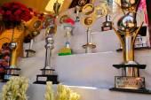 Awards for Pandals, temporary temples dedicated to Hindu godess Durga, Kolkata — Stock Photo