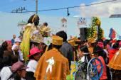 Mama Negra on a horse at traditional Latacunga festival — Stock Photo