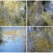 Collage of autumn leaves backgrounds with reflection in water — Stock Photo #64402541