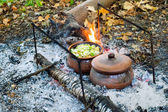 Roast in a clay pot over charcoal — Stock Photo