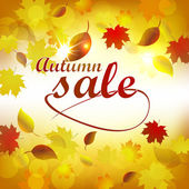 Autumn sale, background with colored leaves — Stock Vector