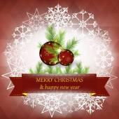 Vánoční a novoroční přání s vánoční dekorace — Stock vektor