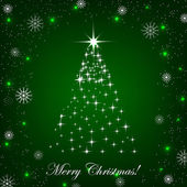 Christmas background with christmas tree and decoration — Vector de stock