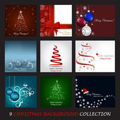 A collection of nine Christmas vector background — Stock Vector
