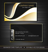Business card template with gold curves, front and back side — Stock Vector