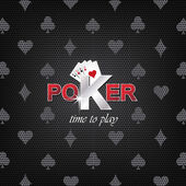 Poker vector illustration on a dark background with card symbol — Stock Vector