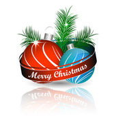 Christmas background with colored christmas ball and green pine needles for greeting card — Vetorial Stock