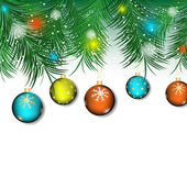 Christmas background with colored christmas ball and green pine needles for greeting card — Wektor stockowy