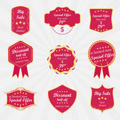Set of vector sale labels, ribbons or badges — Stock Vector