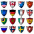 Set of glossy badges or labels with flags popular countries — Stock Vector #60347915