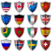 Set of glossy badges or labels with flags popular countries — Stock Vector