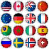 Set of glossy buttons or icons with flags popular countries — Stock Vector