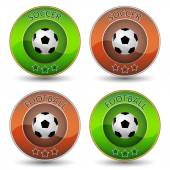 Soccer or football vector icon or badge with ball — Stock Vector