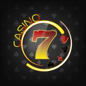 Casino background with lucky seven symbol and gaming elements — Stockvector