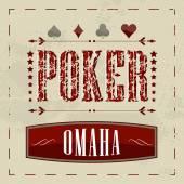 Omaha poker retro background for vintage design — Stock Vector