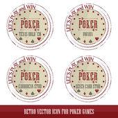 Vintage poker icons for poker games presentation — Stock Vector