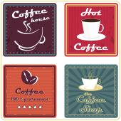 Set of coffee labels or icons in retro style for vintage design — Stock Vector