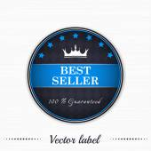 Best seller guaranteed vector label with royal crown — Stock Vector