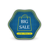 Big sale vector label with shopping bag on a white background — Stok Vektör