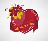 情人节的心和简单的花卉图案 — 图库矢量图片