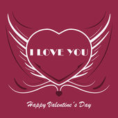 Valentines background with heart and angel wings — Vector de stock