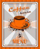 Vintage coffee menu poster vector design — Stock Vector