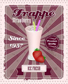 Strawberry frappe poster with drinking strew, fruit and glass in retro style — Stock Vector