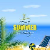 Fundo, palmeira de verão e espreguiçadeira na praia do sol — Vetor de Stock