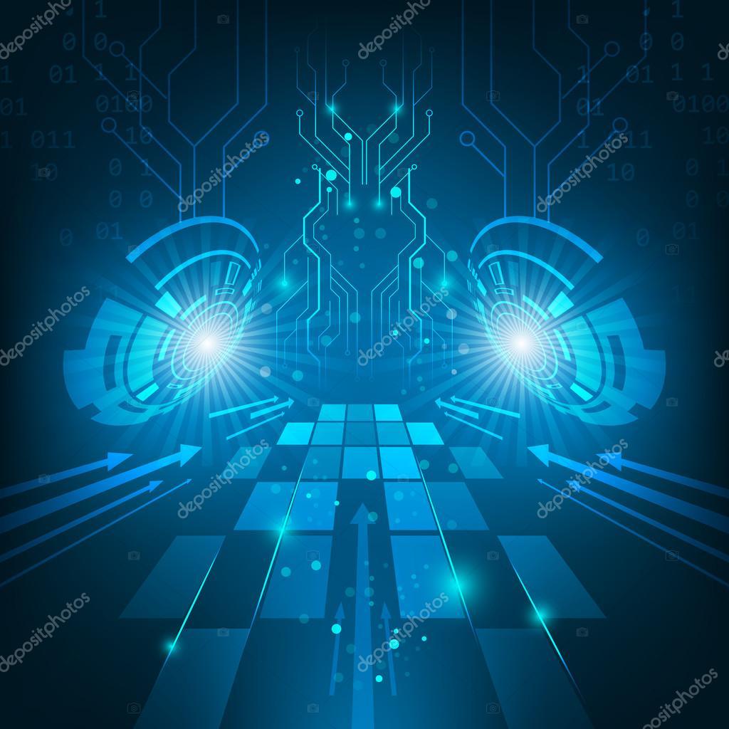 抽象矢量的未来科技电路板深蓝色背景中箭