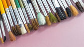 Set of different paintbrushes with white background — Stock Photo