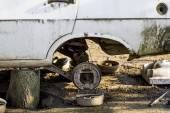 Fragments of an old, abandoned, rusty, romanian car — Stockfoto