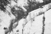 冬の山の村の風景。黒と白の写真 — ストック写真