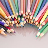 Group of  colored pencils with white background — Stok fotoğraf