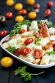 Pasta with shrimps and cherry — Stock Photo