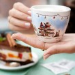 A handmade painting white cup of Christmas mood — Stock Photo #63599055