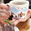 A handmade painting white cup of Christmas mood — Stock Photo #63599063