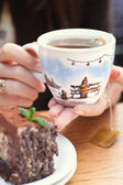 A handmade painting white cup of Christmas mood  — Stock Photo